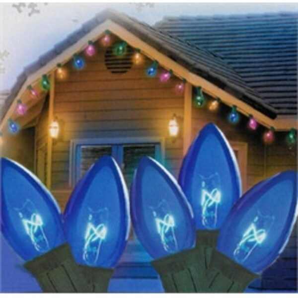 """Set of 25 Transparent Blue C7 Christmas Lights 12"""" Spacing - Green Wire"""