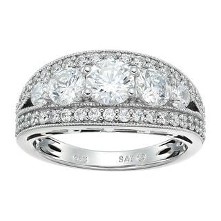Split Band Ring With Swarovski Zirconia In Sterling Silver White