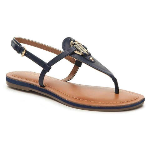 Tommy Hilfiger Womens Genei Leather Open Toe Casual T-Strap Sandals