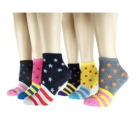 Women's 12 Pairs Pack Low Cut Colorful Fancy Design Ankle Socks