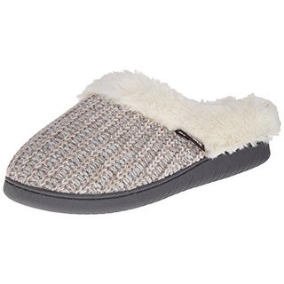 Muk Luks Womens Nordic Mule Knit Faux Fur Clog Slippers