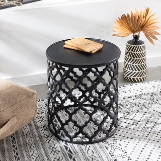 """Link to Tiziana Black Matte Transitional 16.5-inch Metal Accent Table - 19""""H x 16""""W x 16""""D Similar Items in Living Room Furniture"""