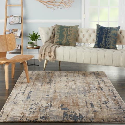 Nourison Concerto Modern Abstract Distressed Grey/Beige Area Rug