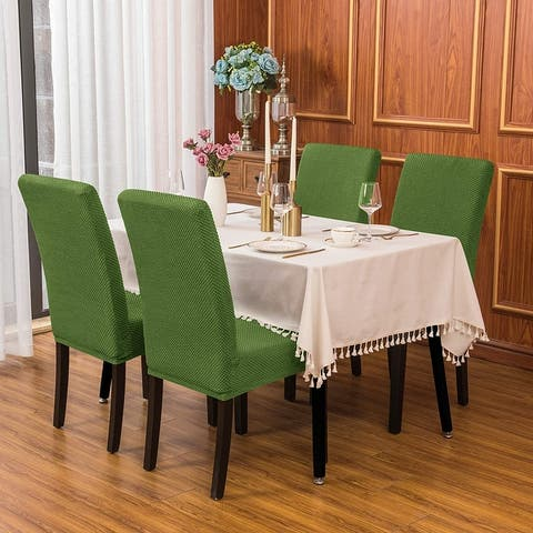 Subrtex 2 PCS Stretch Dining Chair Slipcover Textured Grain Cover