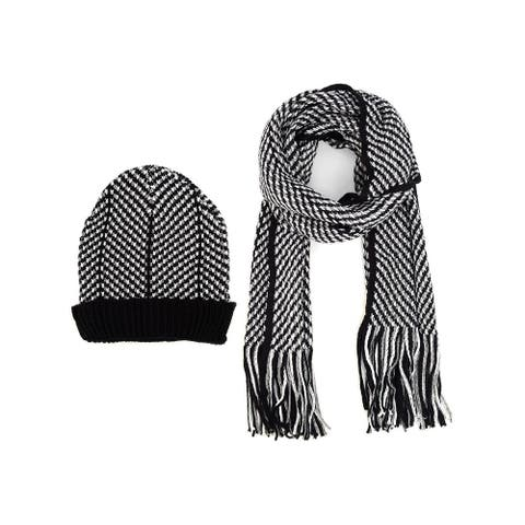 Men's Black, Grey & White Acrylic Knit Scarf and Hat Set - One Size