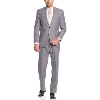 Izod Grey Solid 2pc Suit 38 Regular 38R Double Pleated Front Pants 31W