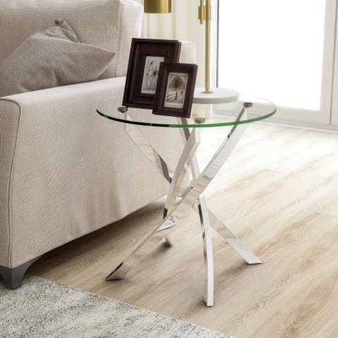 Furniture of America Dess Modern Chrome X-cross Round End Table