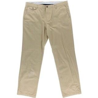 Facconable Mens Wool Blend Flat Front Khaki Pants - 38