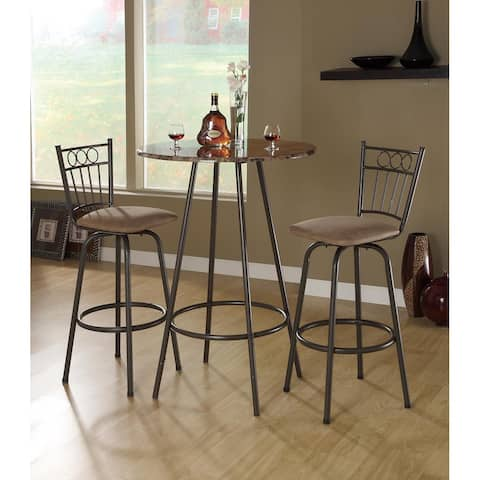Monarch Cappuccino Marble Coffee Metal 30nch Bar Table
