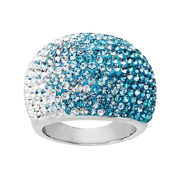 Crystaluxe Dome Ring with Teal-Sky-White Fade Swarovski elements Crystals in Sterling Silver
