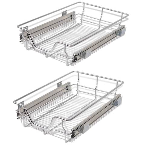 vidaXL Pull-Out Wire Baskets 2 pcs Silver 15.7""