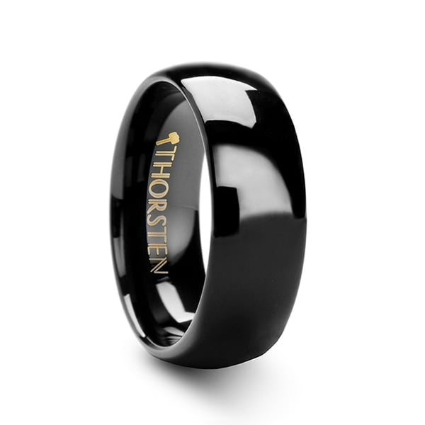 THORSTEN - RAVEN Domed Black Tungsten Wedding Ring - 7mm