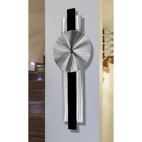 "Statements2000 Abstract Metal Wall Clock Modern Geometric Functional Art by Jon Allen - Lunar Flux - 32"" x 9"""