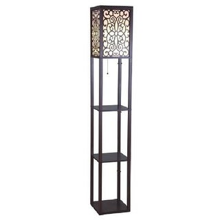 Q-Max 63 in. Brown Wooden Shelf Floor Lamp with Floral Shade Panels