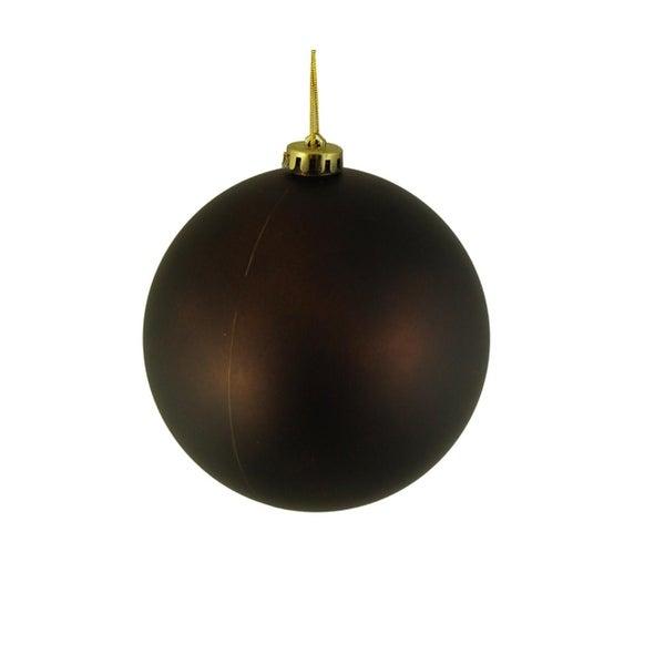 "Matte Chocolate Brown Shatterproof Christmas Ball Ornament 6"" (150mm)"