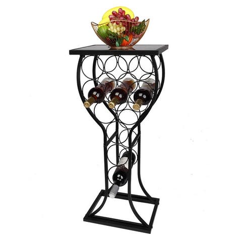 Marble Finish Top Wine Storage Organizer Display Rack Side Table