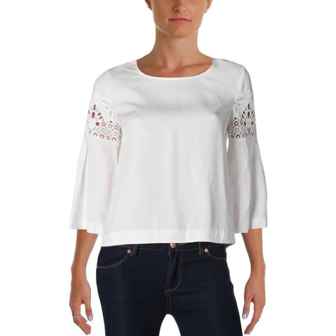 Ramy Brook Womens Lily Casual Top Lace Inset Bell Sleeves - XS