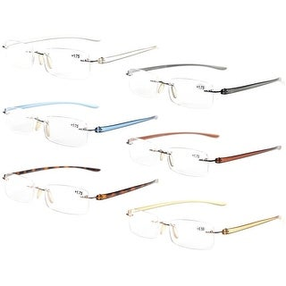 Eyekepper 6-Pack Mix Color Small Lenes Rimless Reading Glasses +3.5