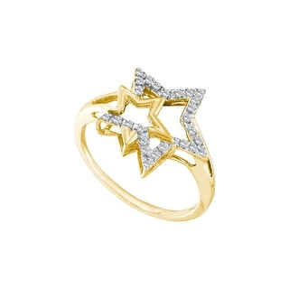 10k Yellow Gold Natural Diamond Womens Slender Double Star Astronomy Right-hand Ring 1/10 Cttw - White