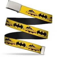 Blank Chrome  Buckle Vintage Batman Logo & Bat Signal Yellow Webbing Web Belt