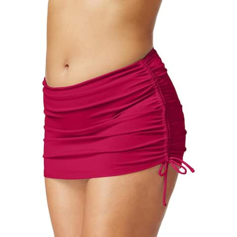 Island Escape Womens Plus Hamptons Fold Over Hipster Swim Skirt - Burgundy - 18W