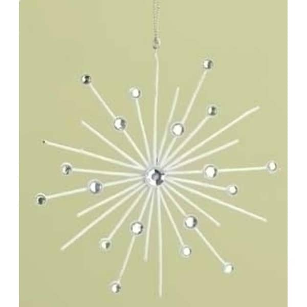 """6"""" Good Tidings Clear Jeweled and Ivory Glittered Snowflake Burst Christmas Ornament"""