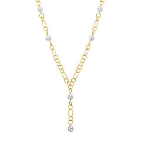 """Crystaluxe Beaded Lariat Necklace with White Swarovski Crystals in 18K Gold-Plated Bronze, 22"""""""
