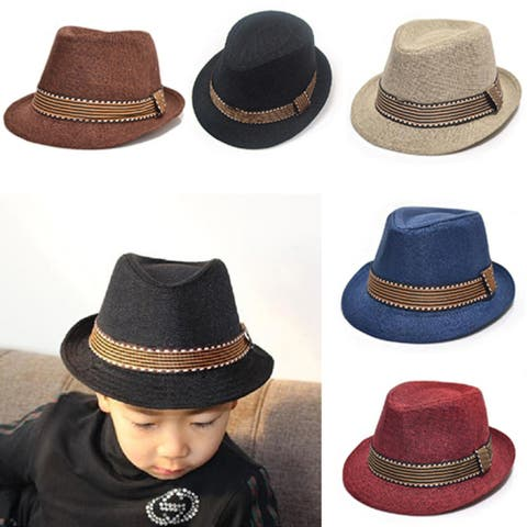 Unisex Kids' Fashion Cool Jazz Pitched Crown Short Brim Hat Cap Fedora Hat