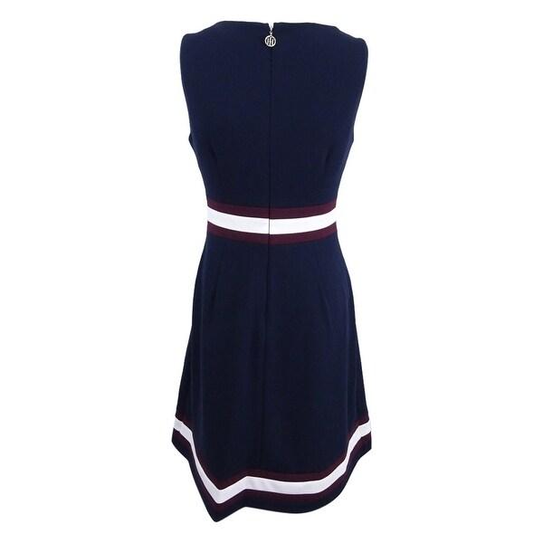 Tommy Hilfiger Womens Ruffled A-line Dress Blue 2X