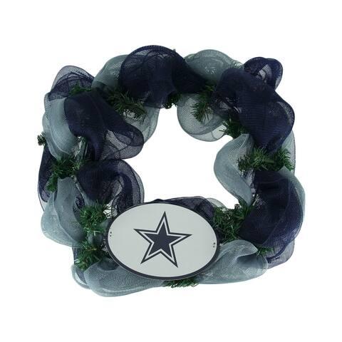 NFL Dallas Cowboys Logo Mesh Holiday Door Wreath - Multicolored - 19.5 X 19.5 X 3.5 inches