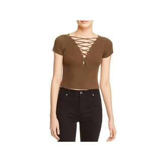 T by Alexander Wang Womens Crop Sweater Lace-Up Ribbed