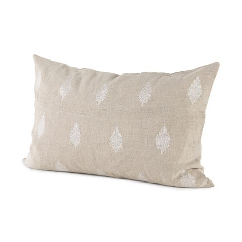 Enya 13L x 21W Beige and Cream Fabric Patterned Decorative Pillow Cover