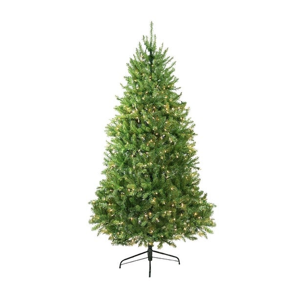 9' Pre-Lit Northern Pine Full Artificial Christmas Tree - Clear Lights - green