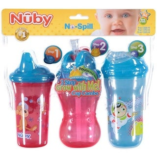 Nuby No-Spill 3-Step Grow with Me 9-oz Cup Combo - 3 Pack