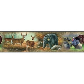 "RoomMates RMK1086BCS 5"" x 180"" - Wildlife Medley - Self-Adhesive Repositionable - N/A"
