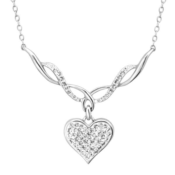 Crystaluxe Heart Necklace with Swarovski elements Crystal in Sterling Silver