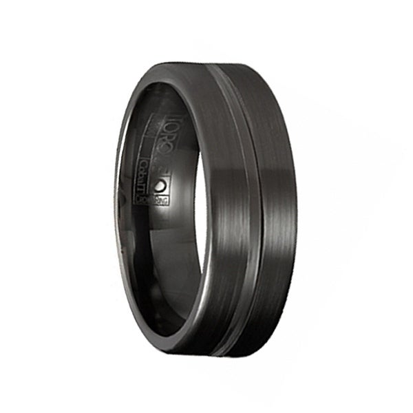 SHANG Torque Black Cobalt Wedding Band Brushed Finish Center Grooved Line Accent by Crown Ring - 7 mm