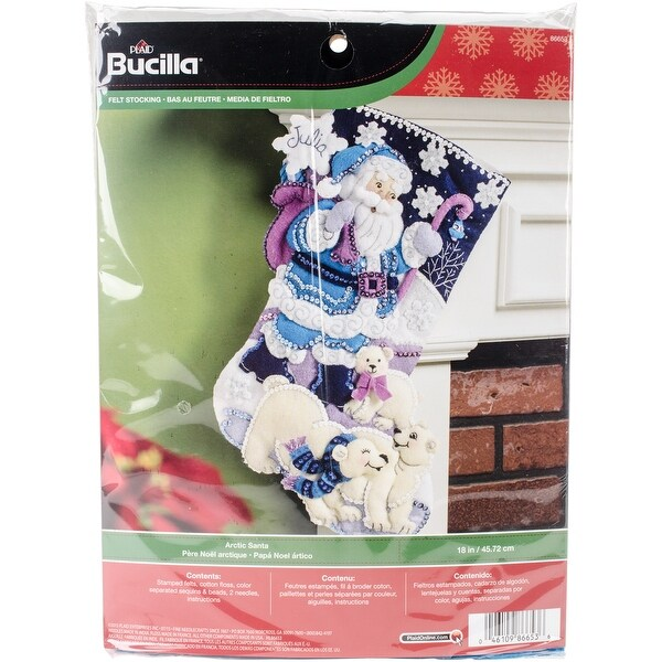 "Arctic Santa Stocking Felt Applique Kit-18"" Long"