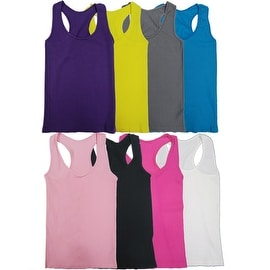 Women 6 Pack Seamless Solid Color Tank Tops