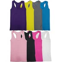 Women's Seamless Solid Color Racer-back Tank Tops (6 Pack)