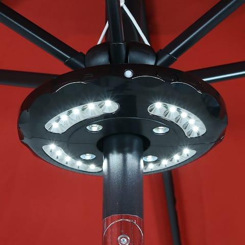 Sunnydaze 4 Panel Patio Umbrella Light - 24 LEDs - Battery Operated Tent Light - Black