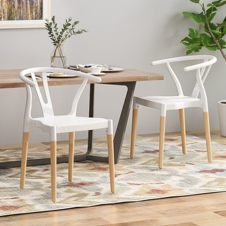 Link to Mountfair Modern Wood Leg Dining Chairs (Set of 2) by Christopher Knight Home Similar Items in Dining Room & Bar Furniture