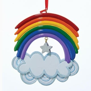 "4"" Rainbow with Clouds and Star Hanging Christmas Ornament for Personalization"