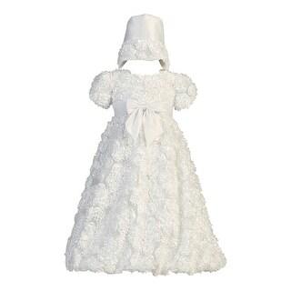 Baby Girls White Daisy Floral Ribbon Tulle Dress Bonnet Baptism Set 0-18M