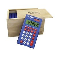 Victor 108 Hybridpower 8-Digit Calculator Kit with Wood Box, Blue, Set of 10