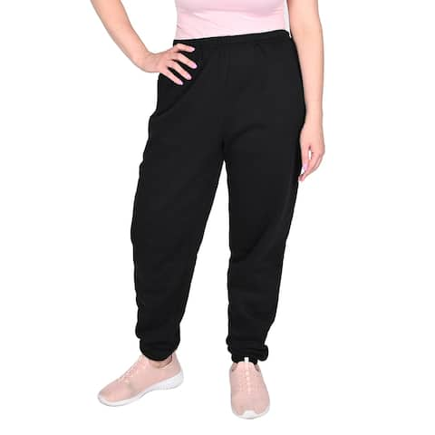 Black Relaxed Fit Mid Rise Fleece Pant Cotton Polyester-Size L