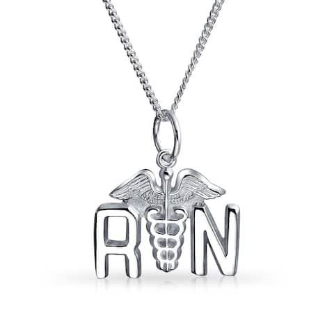RN Registered Nurse Caduceus Pendant Charm Sterling Silver Necklace