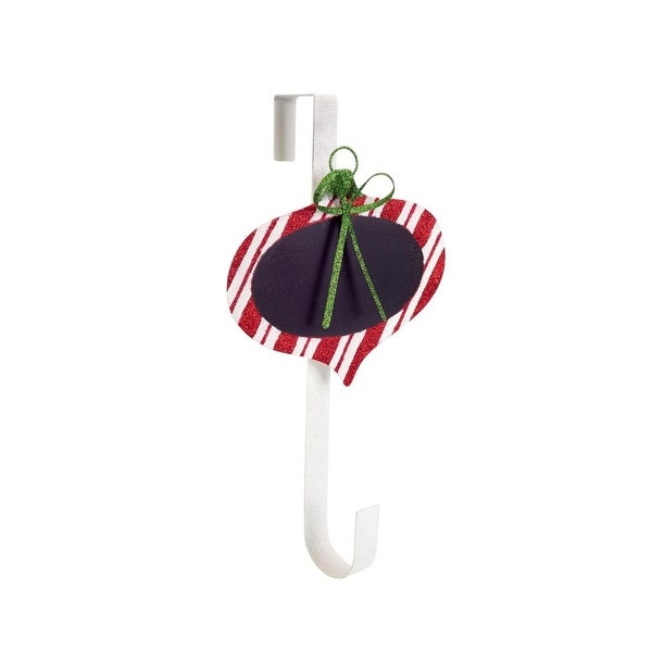 """18"""" Decorative Red and White Striped Chalkboard Christmas Ornament Wreath Door Hanger"""