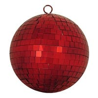 "Shiny Red Hot Mirrored Glass Disco Ball Christmas Ornament 8"" (200mm)"