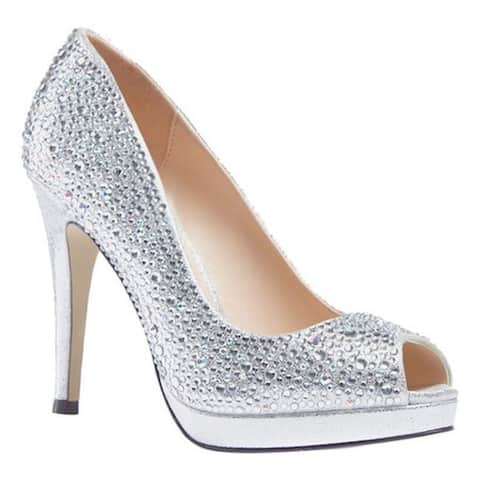 Pink Paradox London Women's Cassidy Crystal Open Toe Pump Silver Synthetic/Crystals